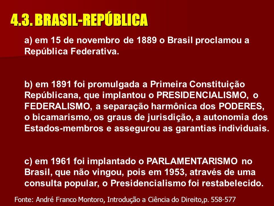4.2. BRASIL-IMPÉRIO A Constituição de 1824 introduziu o princípio da centralização política, apesar da divisão do Brasil em Provincias Pelo Ato adicio