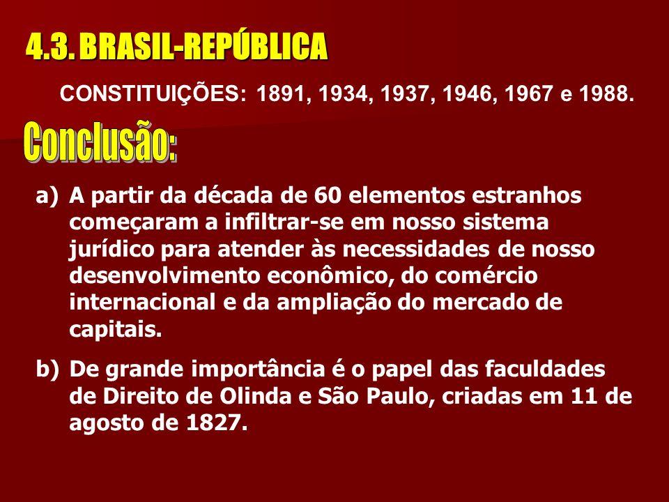 4.3. BRASIL-REPÚBLICA a) em 15 de novembro de 1889 o Brasil proclamou a República Federativa. b) em 1891 foi promulgada a Primeira Constituição Repúbl