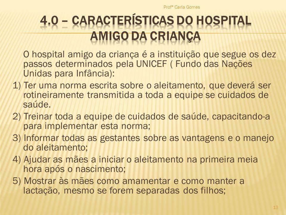 O hospital amigo da criança é a instituição que segue os dez passos determinados pela UNICEF ( Fundo das Nações Unidas para Infância): 1) Ter uma norm