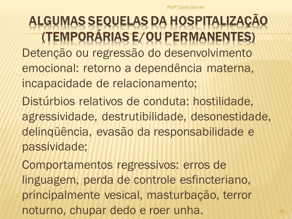Detenção ou regressão do desenvolvimento emocional: retorno a dependência materna, incapacidade de relacionamento; Distúrbios relativos de conduta: ho