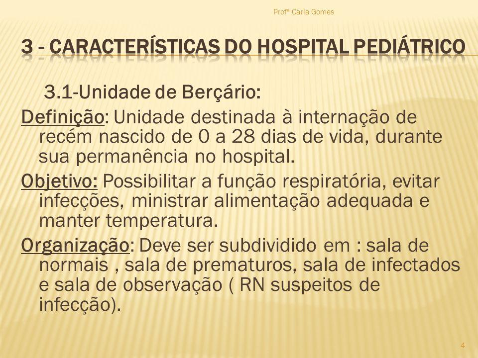 3.1-Unidade de Berçário: Definição: Unidade destinada à internação de recém nascido de 0 a 28 dias de vida, durante sua permanência no hospital. Objet