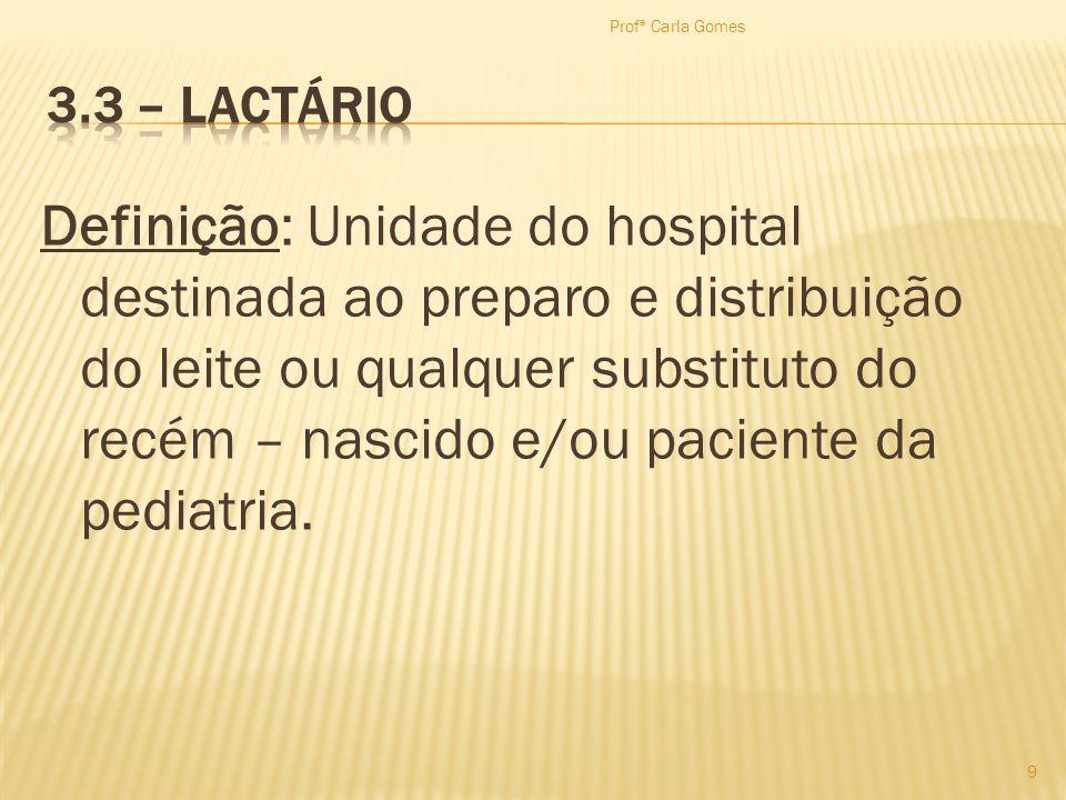 Definição: Unidade do hospital destinada ao preparo e distribuição do leite ou qualquer substituto do recém – nascido e/ou paciente da pediatria. 9 Pr