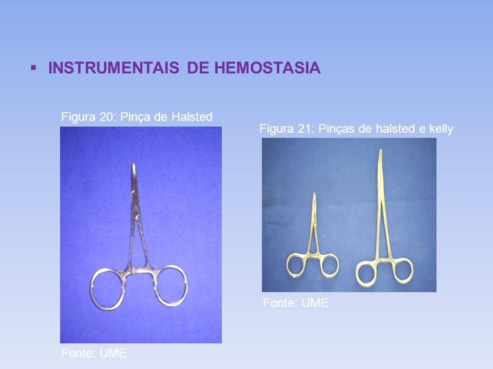 INSTRUMENTAIS DE HEMOSTASIA Figura 20: Pinça de Halsted Figura 21: Pinças de halsted e kelly Fonte: UME