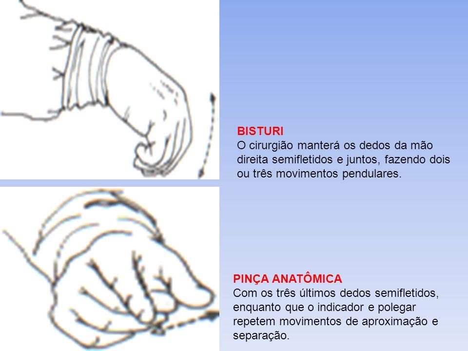 BISTURI O cirurgião manterá os dedos da mão direita semifletidos e juntos, fazendo dois ou três movimentos pendulares. PINÇA ANATÔMICA Com os três últ