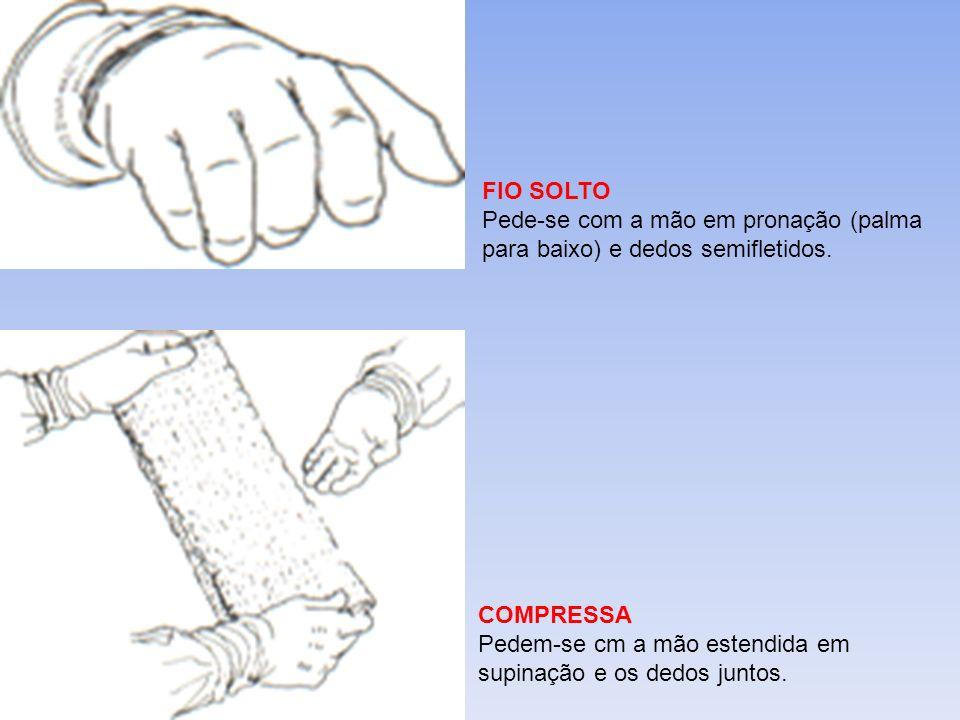 FIO SOLTO Pede-se com a mão em pronação (palma para baixo) e dedos semifletidos. COMPRESSA Pedem-se cm a mão estendida em supinação e os dedos juntos.