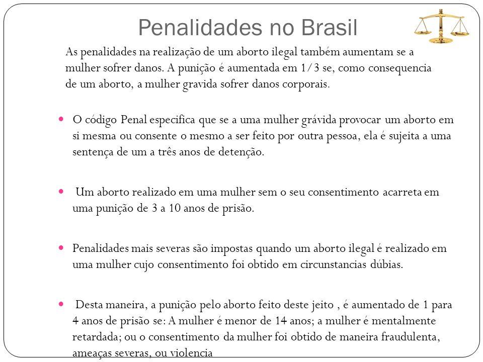 Penalidades no Brasil O código Penal especifica que se a uma mulher grávida provocar um aborto em si mesma ou consente o mesmo a ser feito por outra pessoa, ela é sujeita a uma sentença de um a três anos de detenção.
