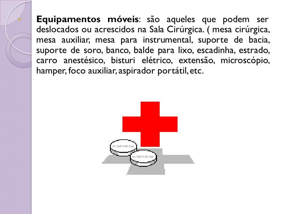Equipamentos móveis: são aqueles que podem ser deslocados ou acrescidos na Sala Cirúrgica. ( mesa cirúrgica, mesa auxiliar, mesa para instrumental, su