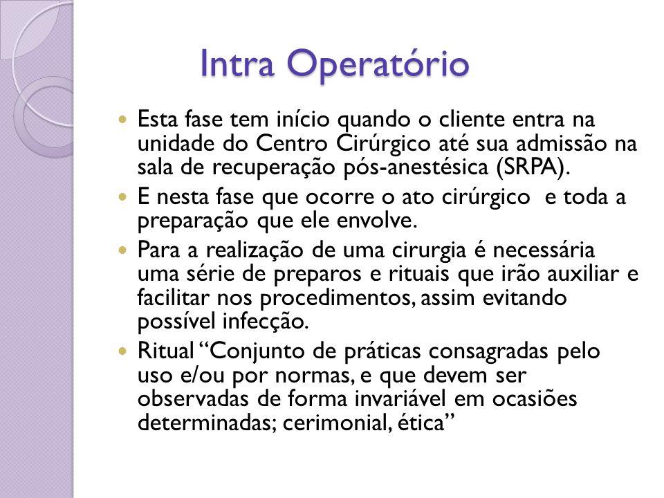 Intra Operatório Intra Operatório Esta fase tem início quando o cliente entra na unidade do Centro Cirúrgico até sua admissão na sala de recuperação p