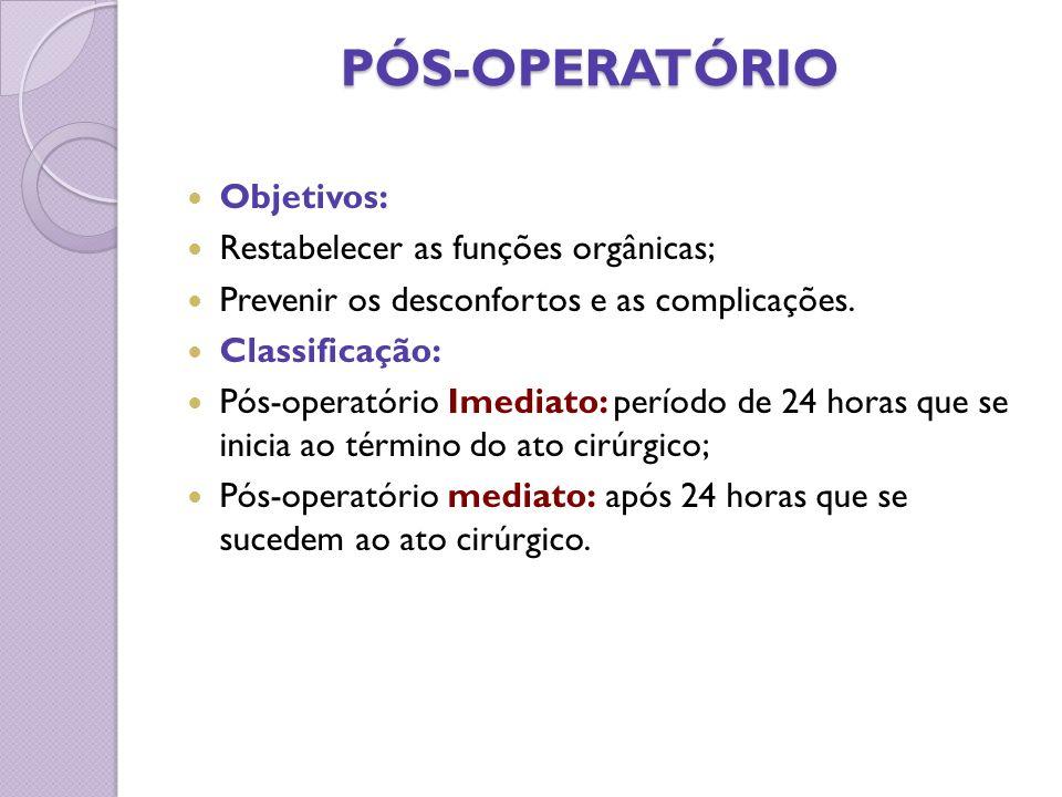 PÓS-OPERATÓRIO PÓS-OPERATÓRIO Objetivos: Restabelecer as funções orgânicas; Prevenir os desconfortos e as complicações. Classificação: Pós-operatório
