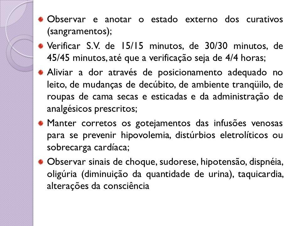 Observar e anotar o estado externo dos curativos (sangramentos); Verificar S.V. de 15/15 minutos, de 30/30 minutos, de 45/45 minutos, até que a verifi