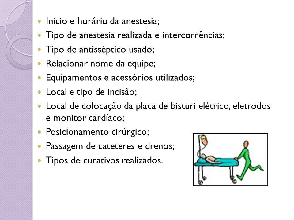 Início e horário da anestesia; Tipo de anestesia realizada e intercorrências; Tipo de antisséptico usado; Relacionar nome da equipe; Equipamentos e ac