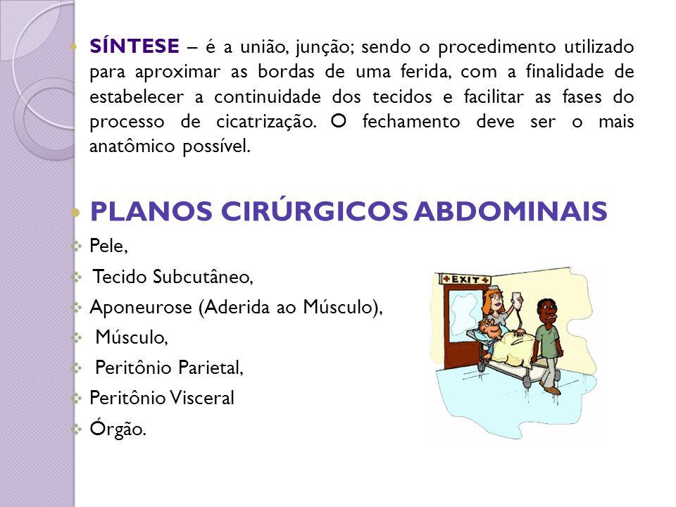 SÍNTESE – é a união, junção; sendo o procedimento utilizado para aproximar as bordas de uma ferida, com a finalidade de estabelecer a continuidade dos