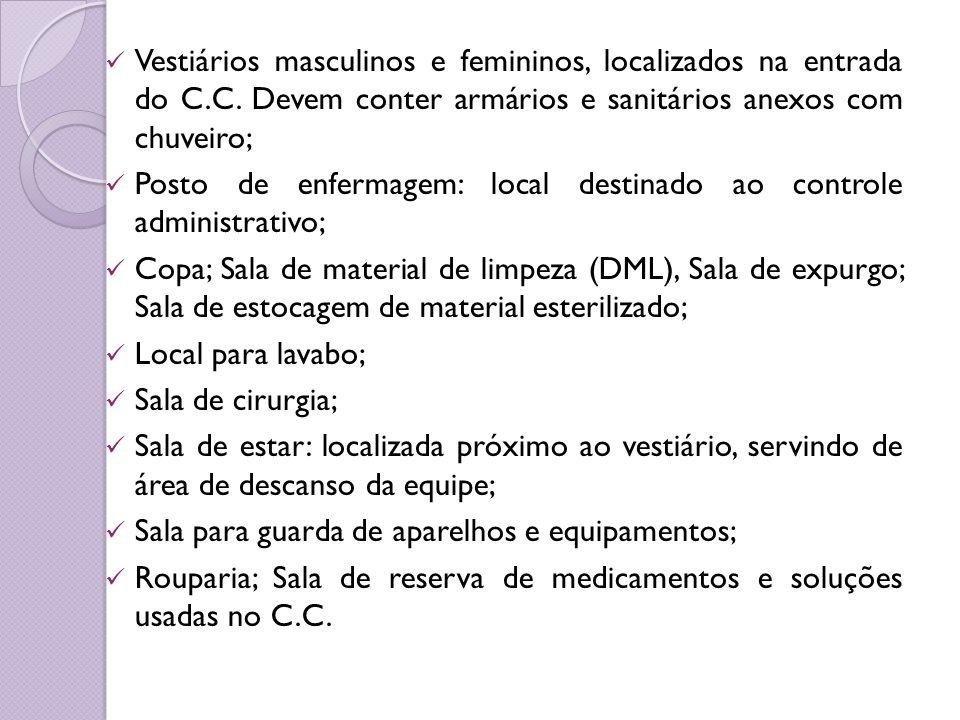 Vestiários masculinos e femininos, localizados na entrada do C.C. Devem conter armários e sanitários anexos com chuveiro; Posto de enfermagem: local d