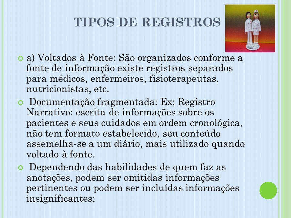 TIPOS DE REGISTROS a) Voltados à Fonte: São organizados conforme a fonte de informação existe registros separados para médicos, enfermeiros, fisiotera