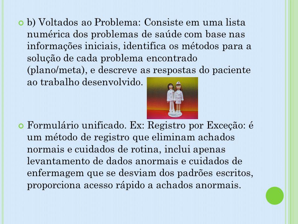 b) Voltados ao Problema: Consiste em uma lista numérica dos problemas de saúde com base nas informações iniciais, identifica os métodos para a solução