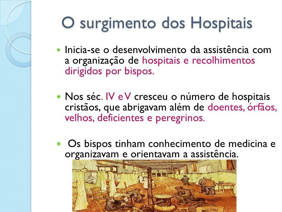 O surgimento dos Hospitais O surgimento dos Hospitais I nicia-se o desenvolvimento da assistência com a organização de hospitais e recolhimentos dirig