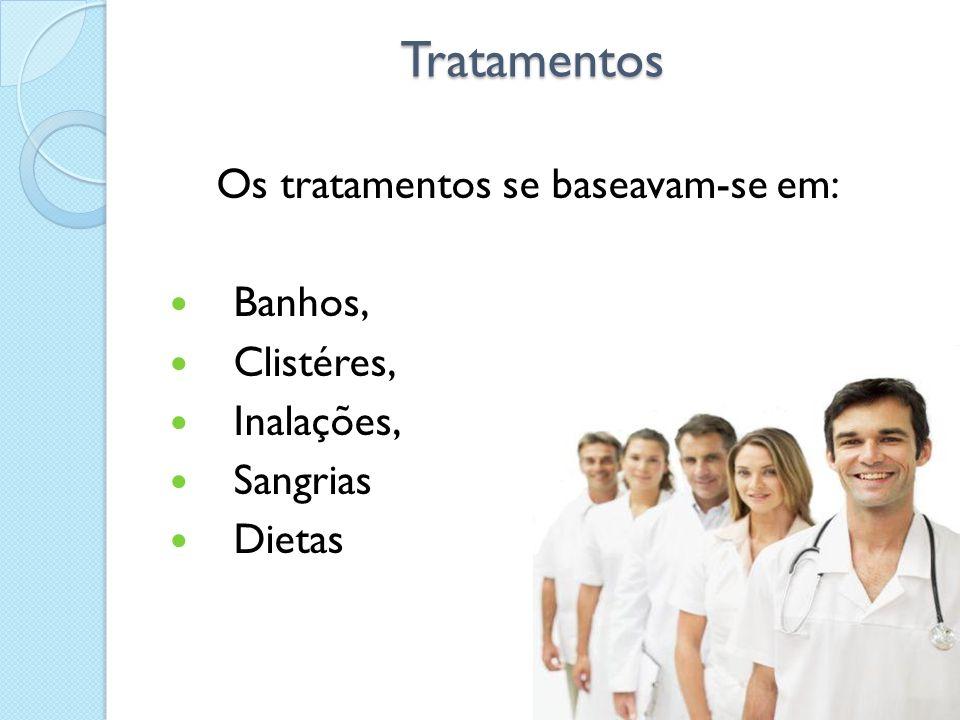 Tratamentos Tratamentos Os tratamentos se baseavam-se em: Banhos, Clistéres, Inalações, Sangrias Dietas