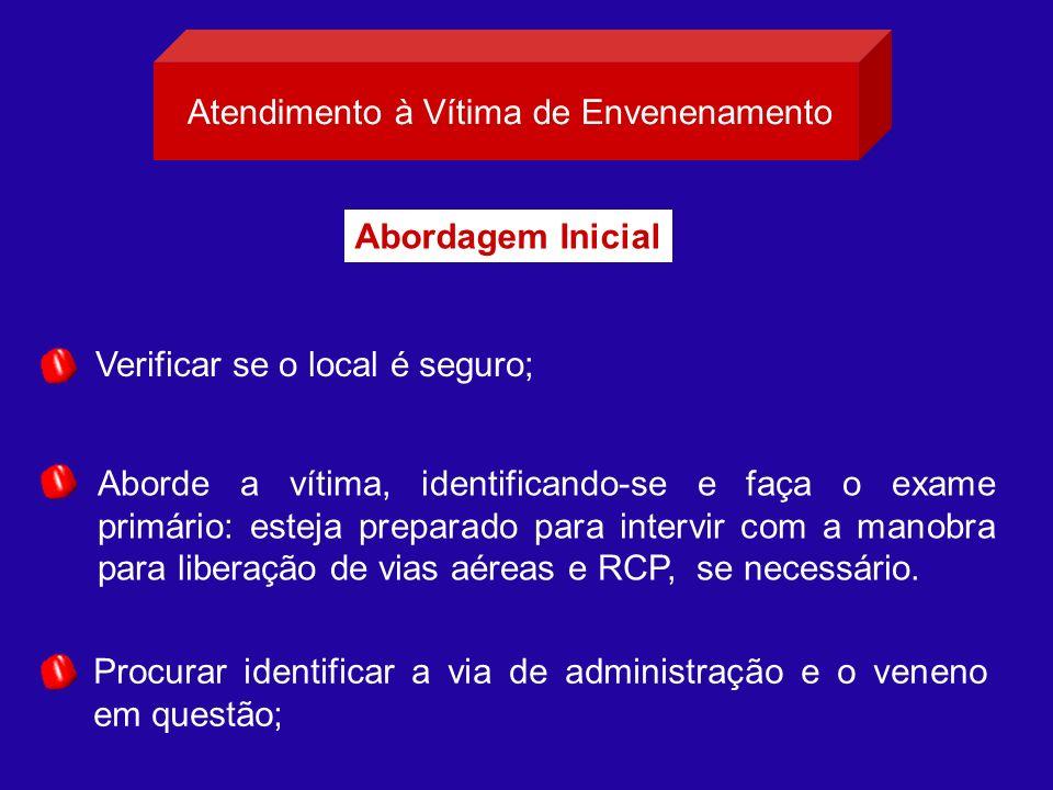Atendimento à Vítima de Envenenamento Verificar se o local é seguro; Procurar identificar a via de administração e o veneno em questão; Aborde a vítim