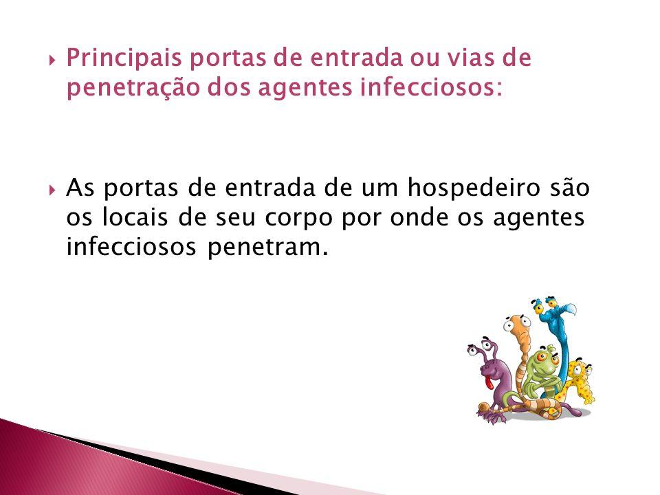 Principais portas de entrada ou vias de penetração dos agentes infecciosos: As portas de entrada de um hospedeiro são os locais de seu corpo por onde