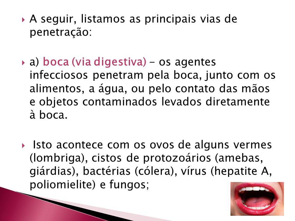 A seguir, listamos as principais vias de penetração: a) boca (via digestiva) - os agentes infecciosos penetram pela boca, junto com os alimentos, a ág