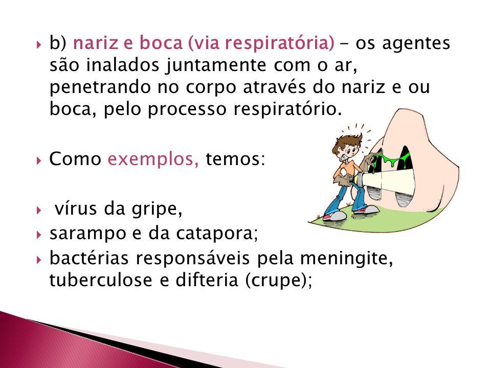 b) nariz e boca (via respiratória) - os agentes são inalados juntamente com o ar, penetrando no corpo através do nariz e ou boca, pelo processo respir