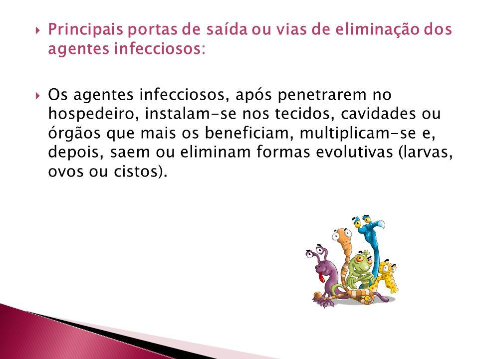 Principais portas de saída ou vias de eliminação dos agentes infecciosos: Os agentes infecciosos, após penetrarem no hospedeiro, instalam-se nos tecid