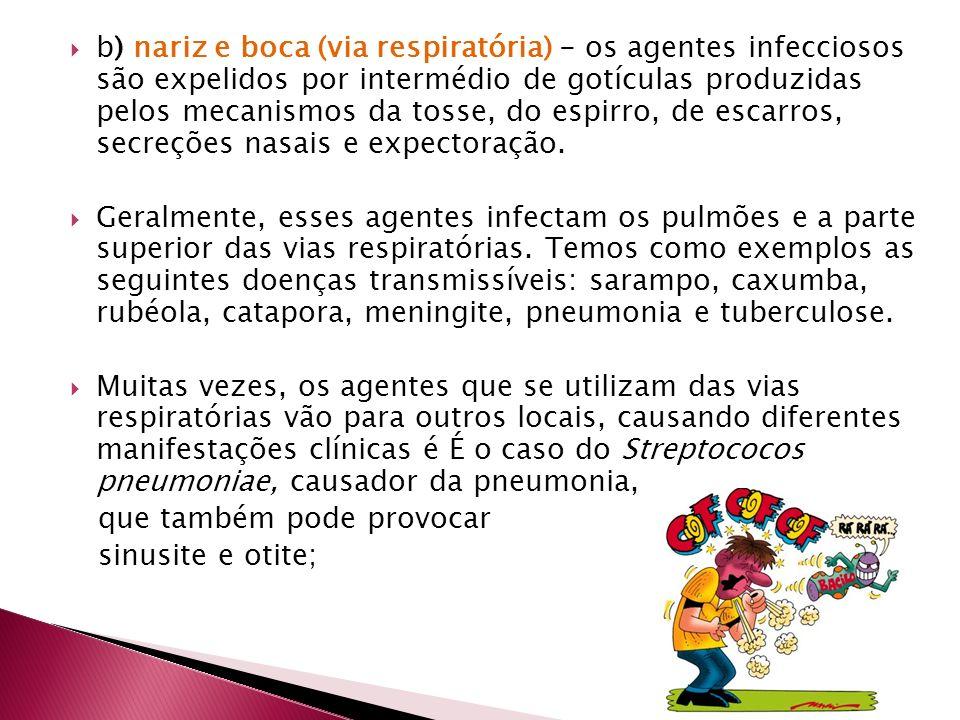 b) nariz e boca (via respiratória) - os agentes infecciosos são expelidos por intermédio de gotículas produzidas pelos mecanismos da tosse, do espirro