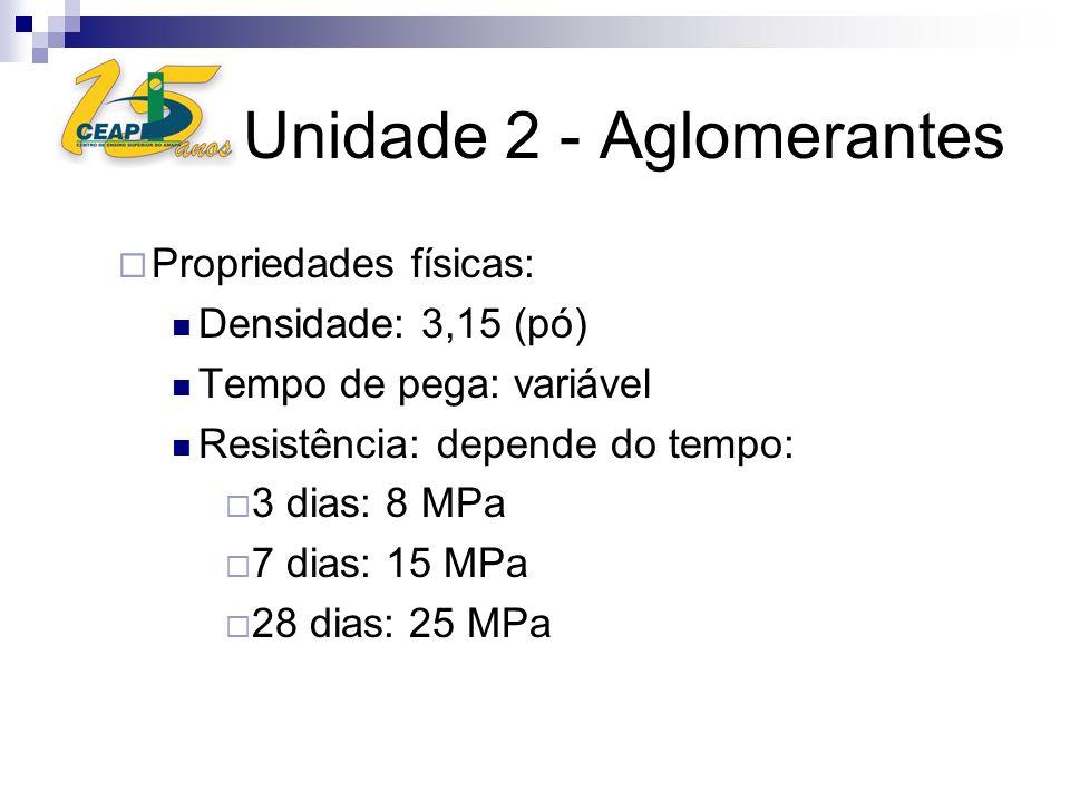 Unidade 2 - Aglomerantes Propriedades físicas: Densidade: 3,15 (pó) Tempo de pega: variável Resistência: depende do tempo: 3 dias: 8 MPa 7 dias: 15 MP