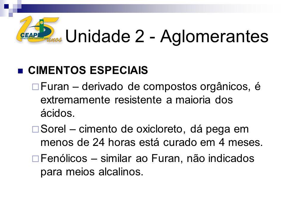 Unidade 2 - Aglomerantes CIMENTOS ESPECIAIS Furan – derivado de compostos orgânicos, é extremamente resistente a maioria dos ácidos. Sorel – cimento d