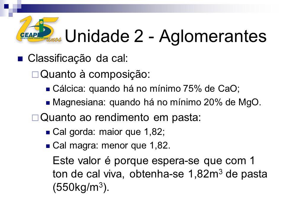 Unidade 2 - Aglomerantes Classificação da cal: Quanto à composição: Cálcica: quando há no mínimo 75% de CaO; Magnesiana: quando há no mínimo 20% de Mg