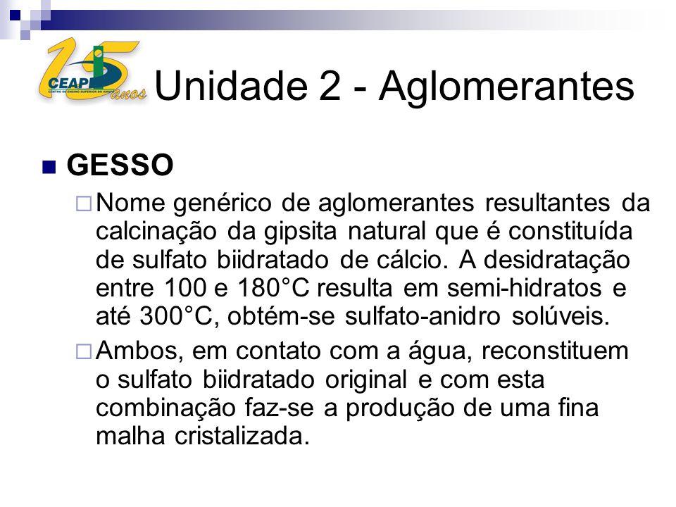 Unidade 2 - Aglomerantes GESSO Nome genérico de aglomerantes resultantes da calcinação da gipsita natural que é constituída de sulfato biidratado de c