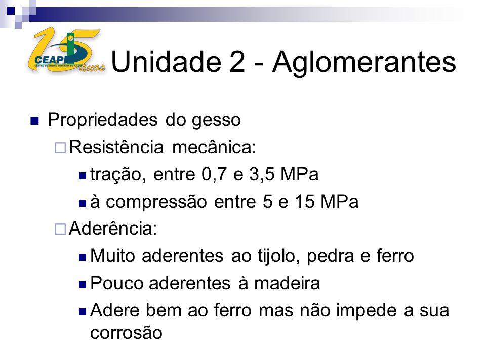 Unidade 2 - Aglomerantes Propriedades do gesso Resistência mecânica: tração, entre 0,7 e 3,5 MPa à compressão entre 5 e 15 MPa Aderência: Muito aderen