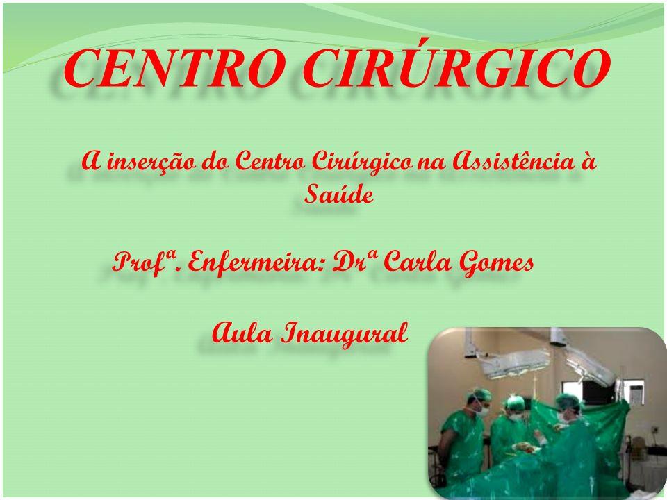 CENTRO CIRÚRGICO A inserção do Centro Cirúrgico na Assistência à Saúde A inserção do Centro Cirúrgico na Assistência à Saúde Prof ª. Enfermeira: Drª C