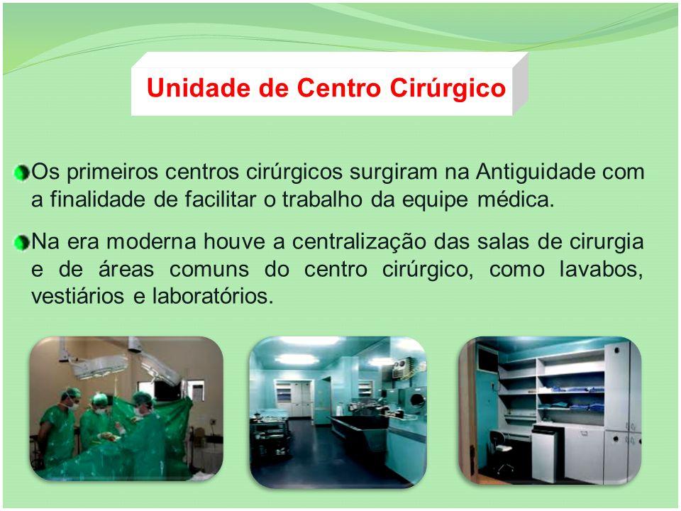 Os primeiros centros cirúrgicos surgiram na Antiguidade com a finalidade de facilitar o trabalho da equipe médica. Na era moderna houve a centralizaçã