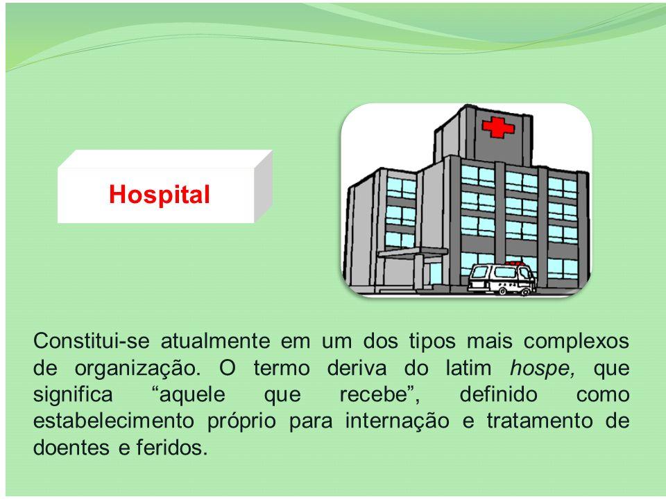 Hospital Constitui-se atualmente em um dos tipos mais complexos de organização. O termo deriva do latim hospe, que significa aquele que recebe, defini