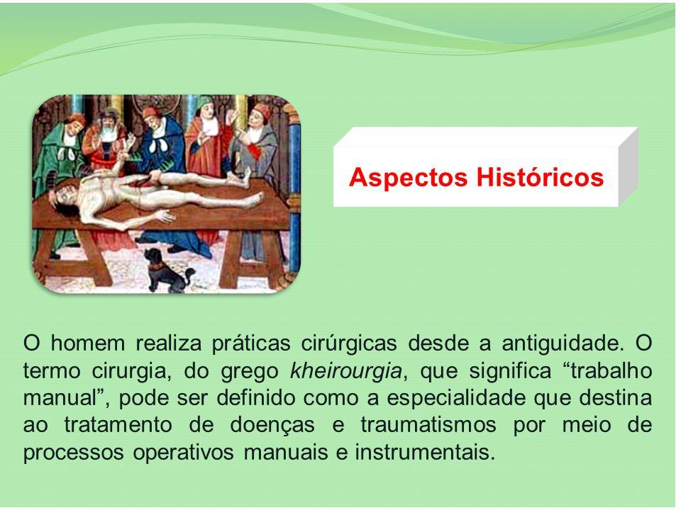 Aspectos Históricos O homem realiza práticas cirúrgicas desde a antiguidade. O termo cirurgia, do grego kheirourgia, que significa trabalho manual, po