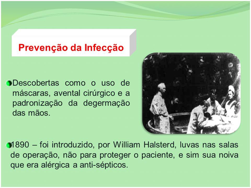 Prevenção da Infecção Descobertas como o uso de máscaras, avental cirúrgico e a padronização da degermação das mãos. 1890 – foi introduzido, por Willi