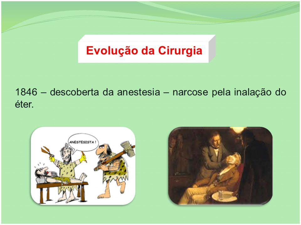 Evolução da Cirurgia 1846 – descoberta da anestesia – narcose pela inalação do éter.
