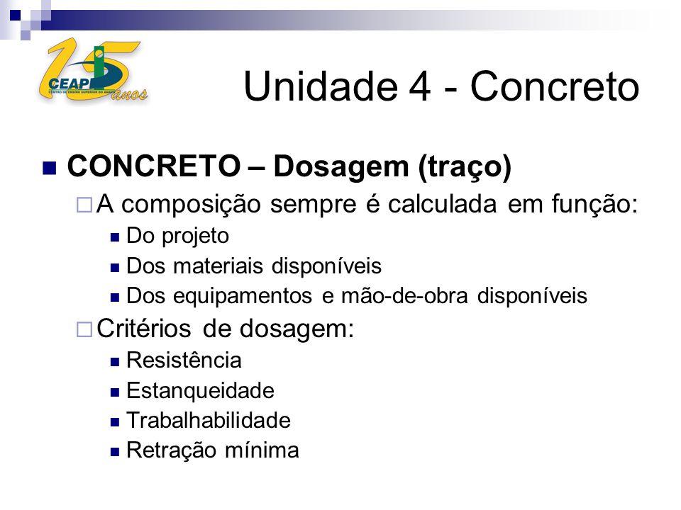 CONCRETO – Dosagem (traço) A composição sempre é calculada em função: Do projeto Dos materiais disponíveis Dos equipamentos e mão-de-obra disponíveis