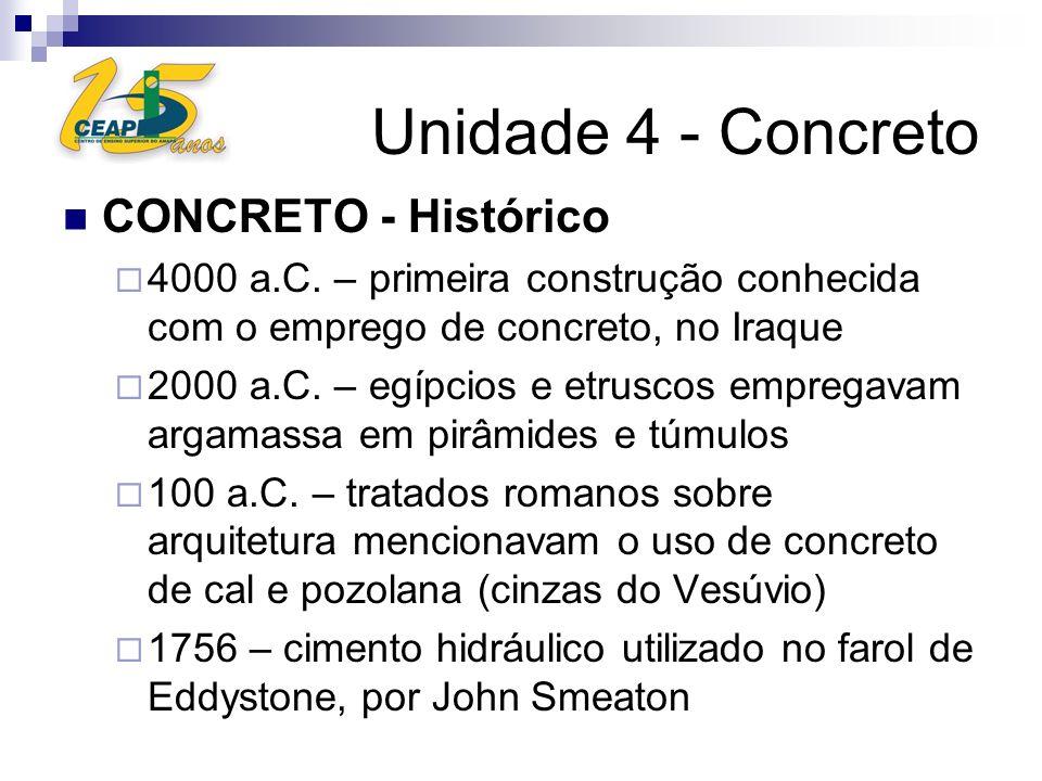 Unidade 4 - Concreto CONCRETO - Histórico 4000 a.C. – primeira construção conhecida com o emprego de concreto, no Iraque 2000 a.C. – egípcios e etrusc