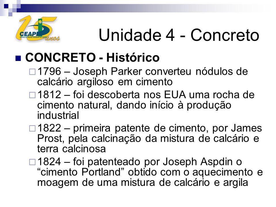 Unidade 4 - Concreto CONCRETO - Histórico 1825 – Construída a 1ª fábrica de cimento na Inglaterra 1870 – Fundada a 1ª fábrica de cimento nos EUA, na Pensilvânia 1926 – construída a 1ª fábrica de cimento no Brasil, a Cia Brasileira de Cimento Portland 1936 – Criação da ABCP – Associação Brasileira de Cimento Portland