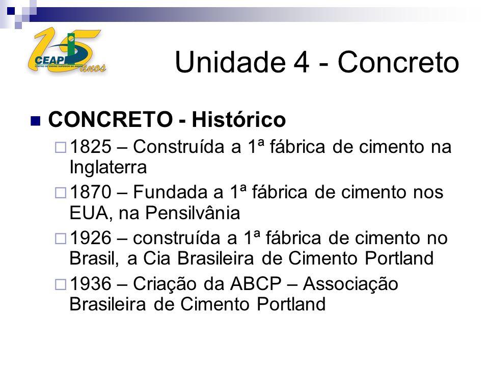 Unidade 4 - Concreto CONCRETO - Histórico 1825 – Construída a 1ª fábrica de cimento na Inglaterra 1870 – Fundada a 1ª fábrica de cimento nos EUA, na P