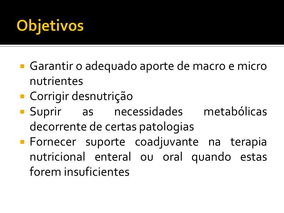 Garantir o adequado aporte de macro e micro nutrientes Corrigir desnutrição Suprir as necessidades metabólicas decorrente de certas patologias Fornecer suporte coadjuvante na terapia nutricional enteral ou oral quando estas forem insuficientes
