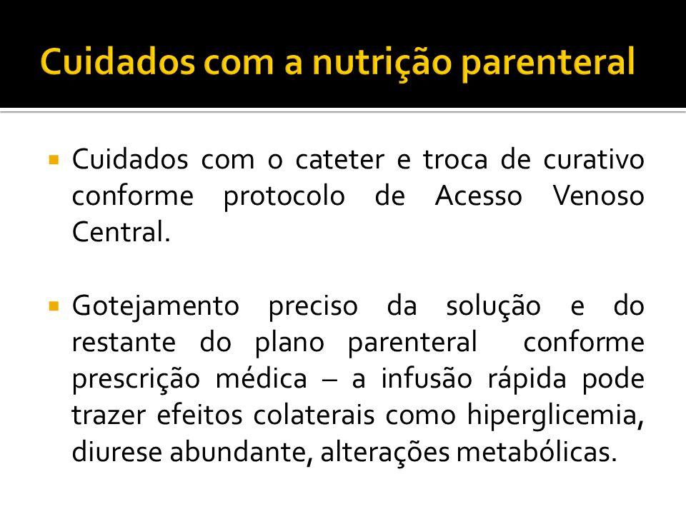 Cuidados com o cateter e troca de curativo conforme protocolo de Acesso Venoso Central.