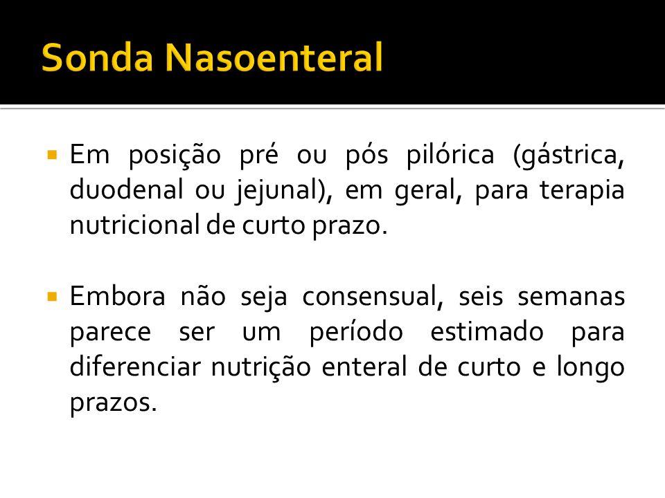 Em posição pré ou pós pilórica (gástrica, duodenal ou jejunal), em geral, para terapia nutricional de curto prazo.