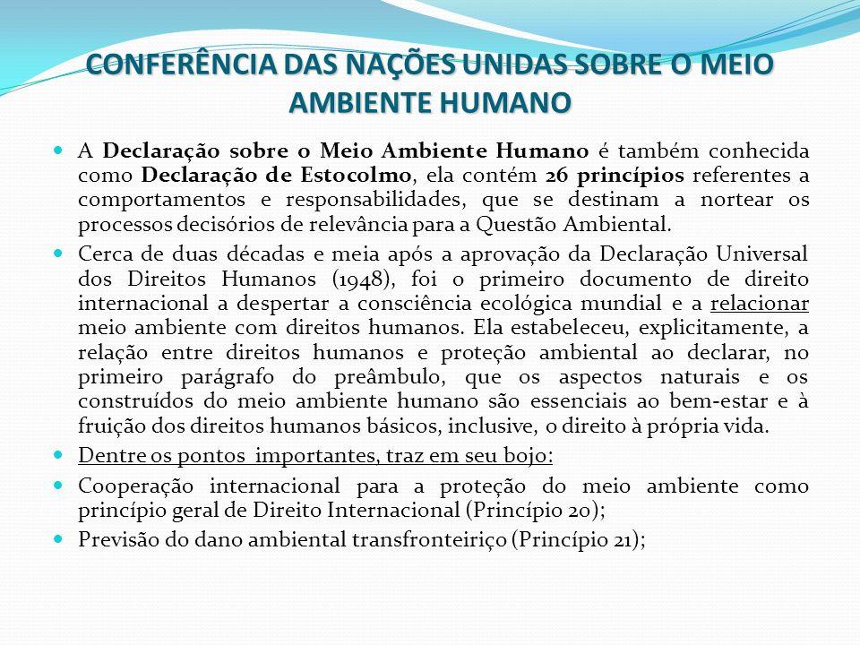 CONFERÊNCIA DAS NAÇÕES UNIDAS SOBRE O MEIO AMBIENTE HUMANO A Declaração sobre o Meio Ambiente Humano é também conhecida como Declaração de Estocolmo,
