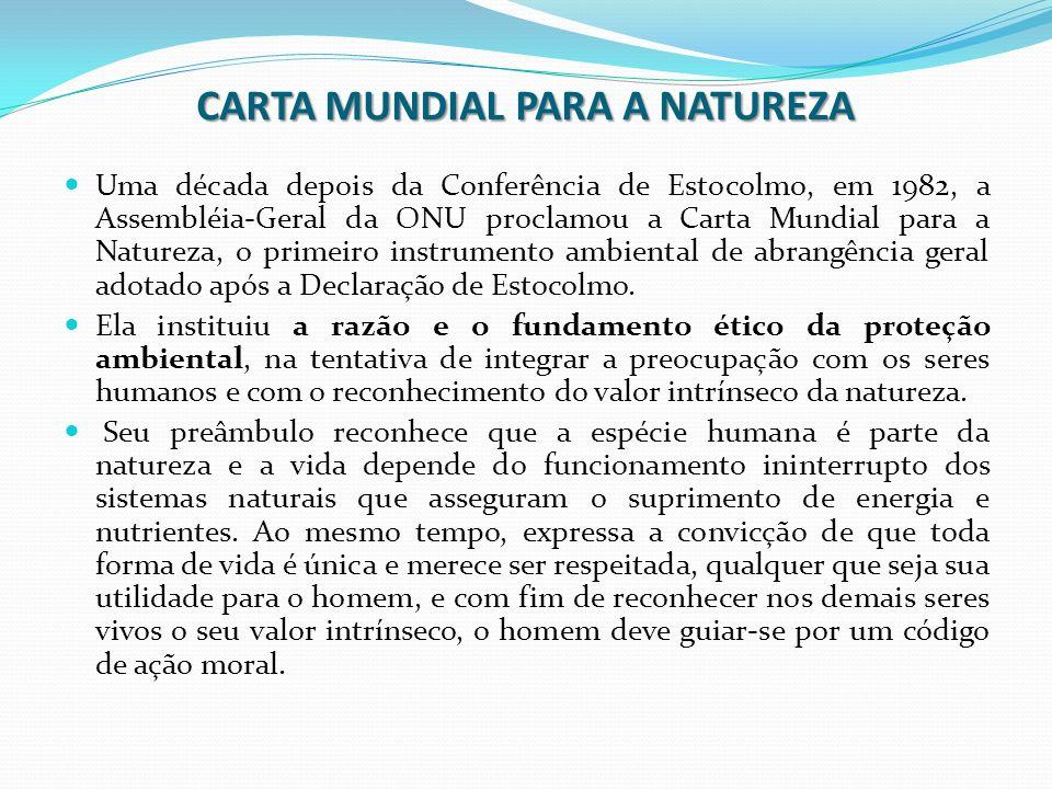 CARTA MUNDIAL PARA A NATUREZA Uma década depois da Conferência de Estocolmo, em 1982, a Assembléia-Geral da ONU proclamou a Carta Mundial para a Natur