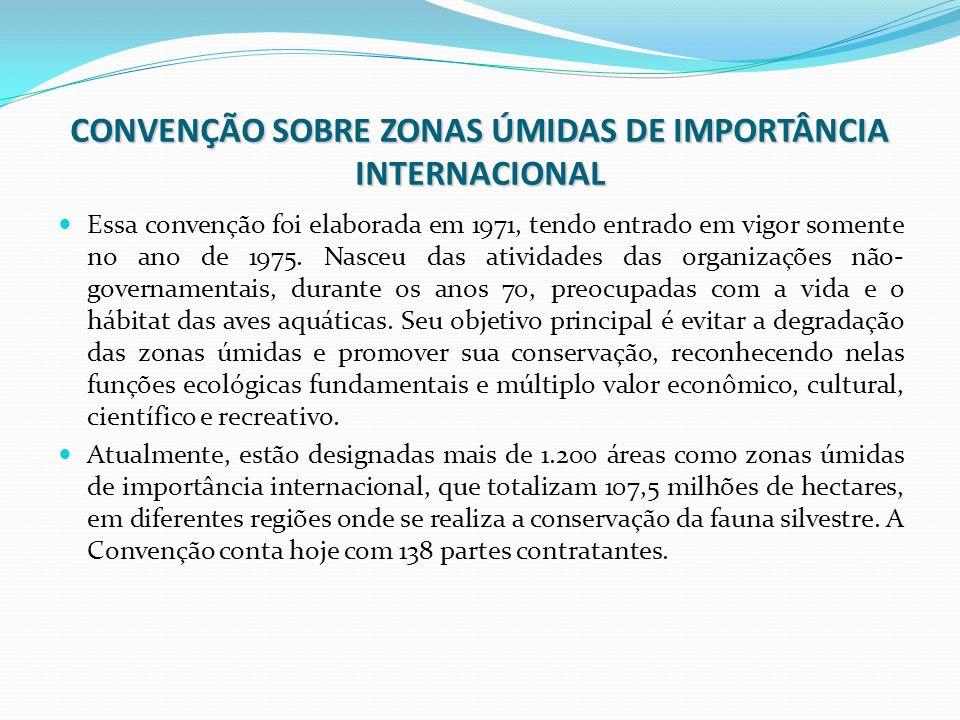 CONVENÇÃO SOBRE ZONAS ÚMIDAS DE IMPORTÂNCIA INTERNACIONAL Essa convenção foi elaborada em 1971, tendo entrado em vigor somente no ano de 1975. Nasceu
