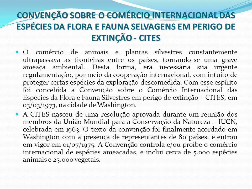 CONVENÇÃO SOBRE O COMÉRCIO INTERNACIONAL DAS ESPÉCIES DA FLORA E FAUNA SELVAGENS EM PERIGO DE EXTINÇÃO - CITES O comércio de animais e plantas silvest