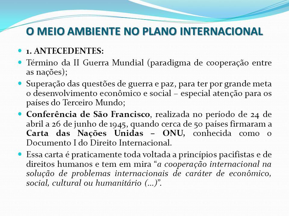 O MEIO AMBIENTE NO PLANO INTERNACIONAL 1. ANTECEDENTES: Término da II Guerra Mundial (paradigma de cooperação entre as nações); Superação das questões